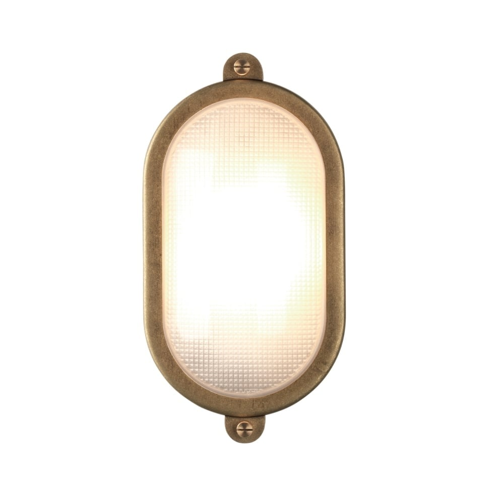 Oval Bulkhead Outdoor Light In Solid Brass For Exposed