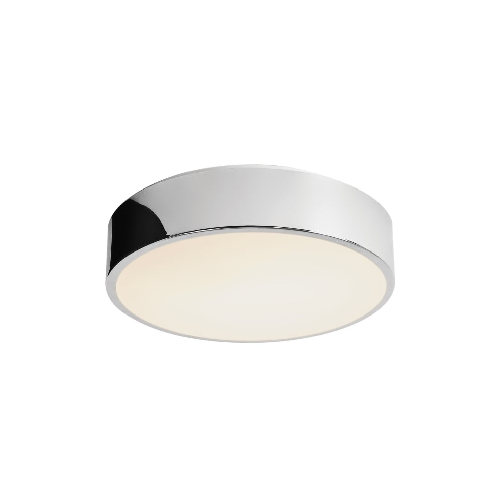 Flush fit bathroom ceiling light chrome surround and opal glass shade mallon circular flush fit led bathroom ceiling light aloadofball Images
