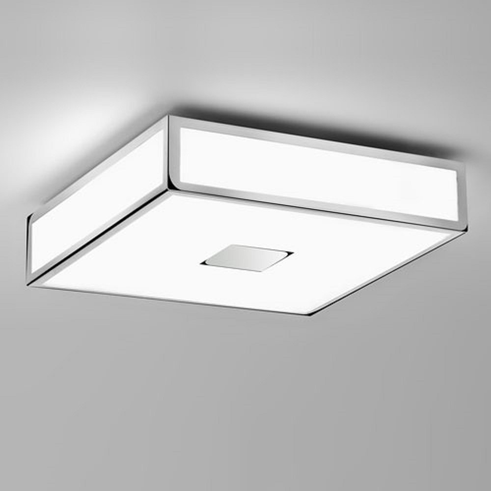 Class 11 Double Insulated Bathroom Ceiling Light. Square Chrome IP44