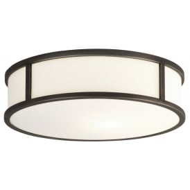 MASHIKO IP44 circular bathroom wall light - bronze, medium