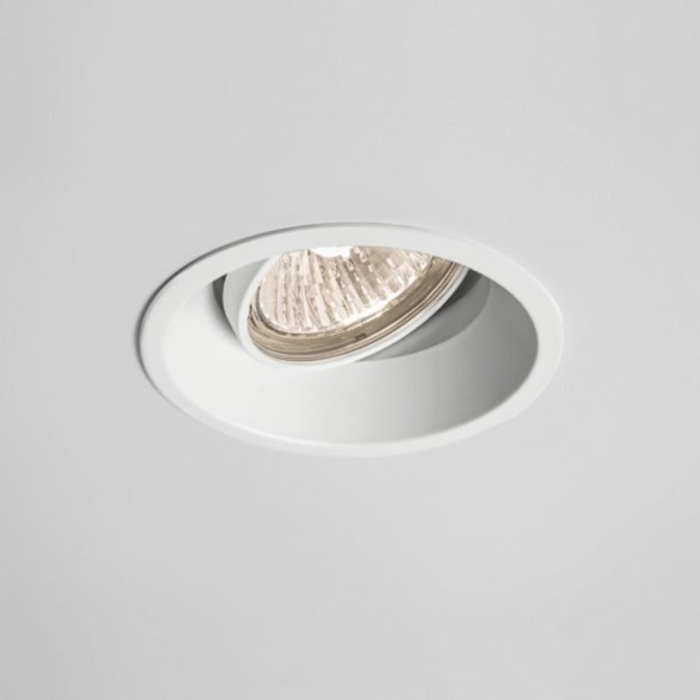 Recessed White Ceiling Downlight With Angled Bulb To