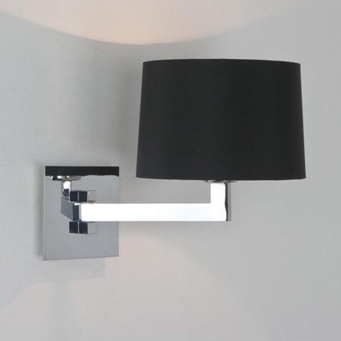 momo single swing arm chrome wall light round black shade