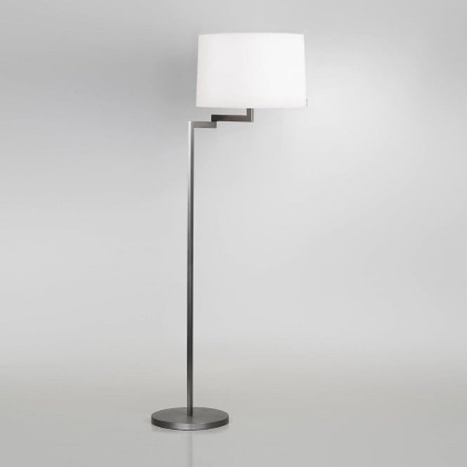 Modern brushed stainless steel floor lamp with adjustble swing arm momo swing arm brushed stainless steel floor lamp round white shade aloadofball Image collections
