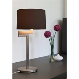 MOMO swing arm brushed stainless steel table lamp - round black shade