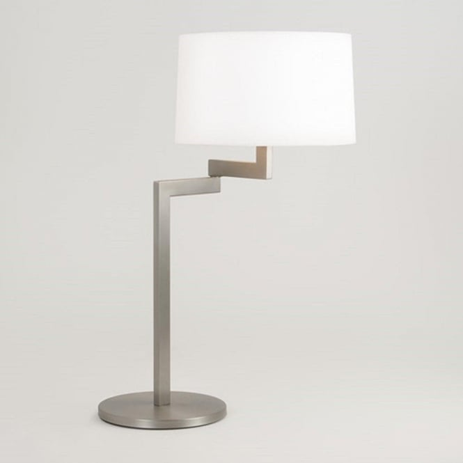 Imperial Hotel Lighting MOMO swing arm brushed stainless steel table lamp - round white shade