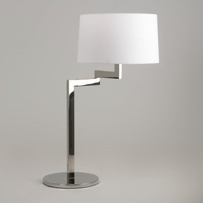 Imperial Hotel Lighting MOMO swing arm chrome table lamp - round white shade