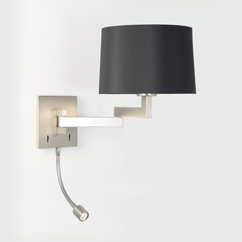 Switched Plaster Wall Lights : Hotel Style Swing Arm Wall Light with Separate LED Book Reading Light