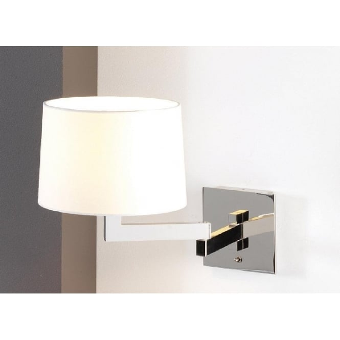 Swing Arm Adjustable Wall Lights for Lighting Over Beds, White Shade