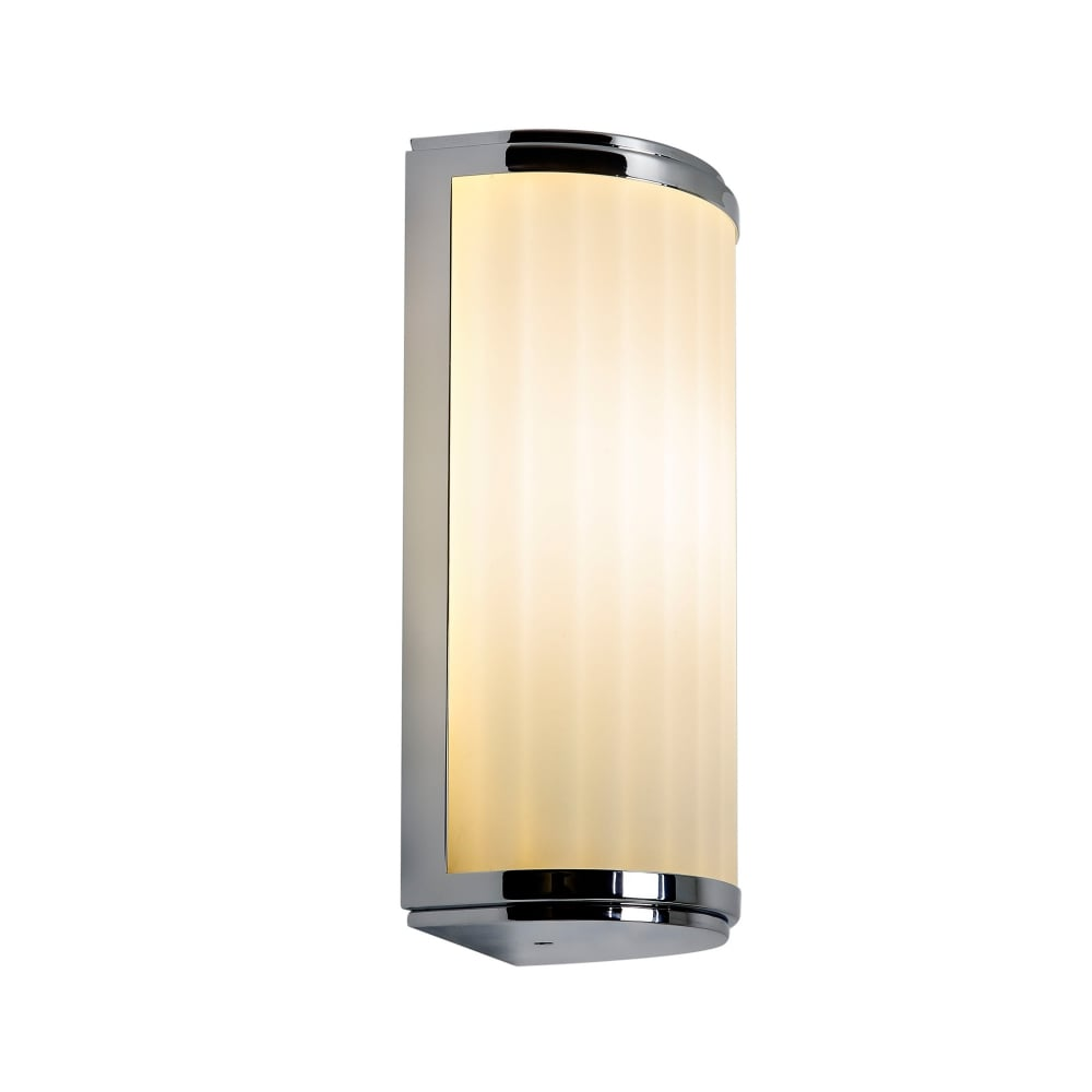 Deco Style Flush Bathroom Wall Light in Chrome with Curved ...