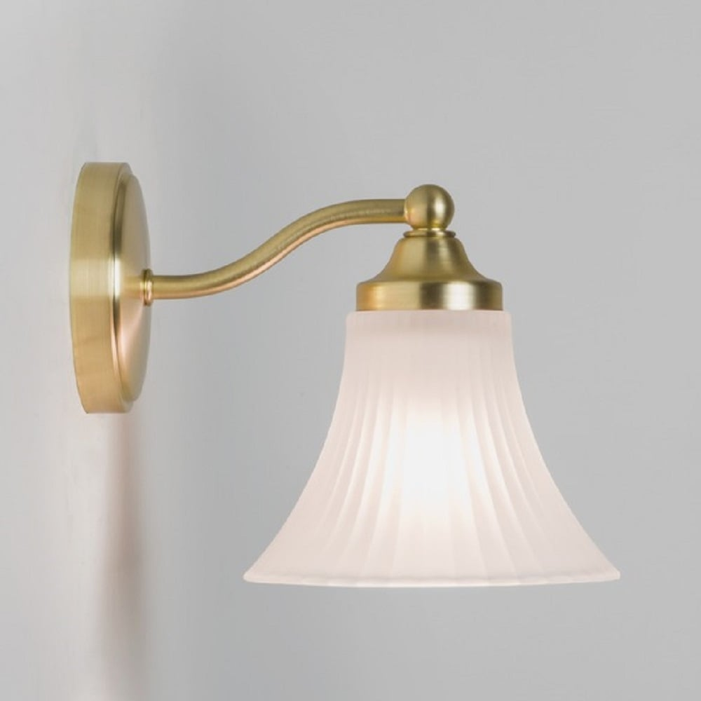 Matt gold traditional bathroom wall light with opal glass for Gold bathroom wall lights