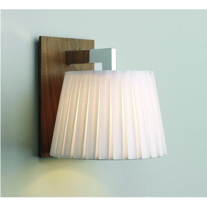 Imperial Hotel Lighting NOLA single wall light with walnut finish and white fabric shade