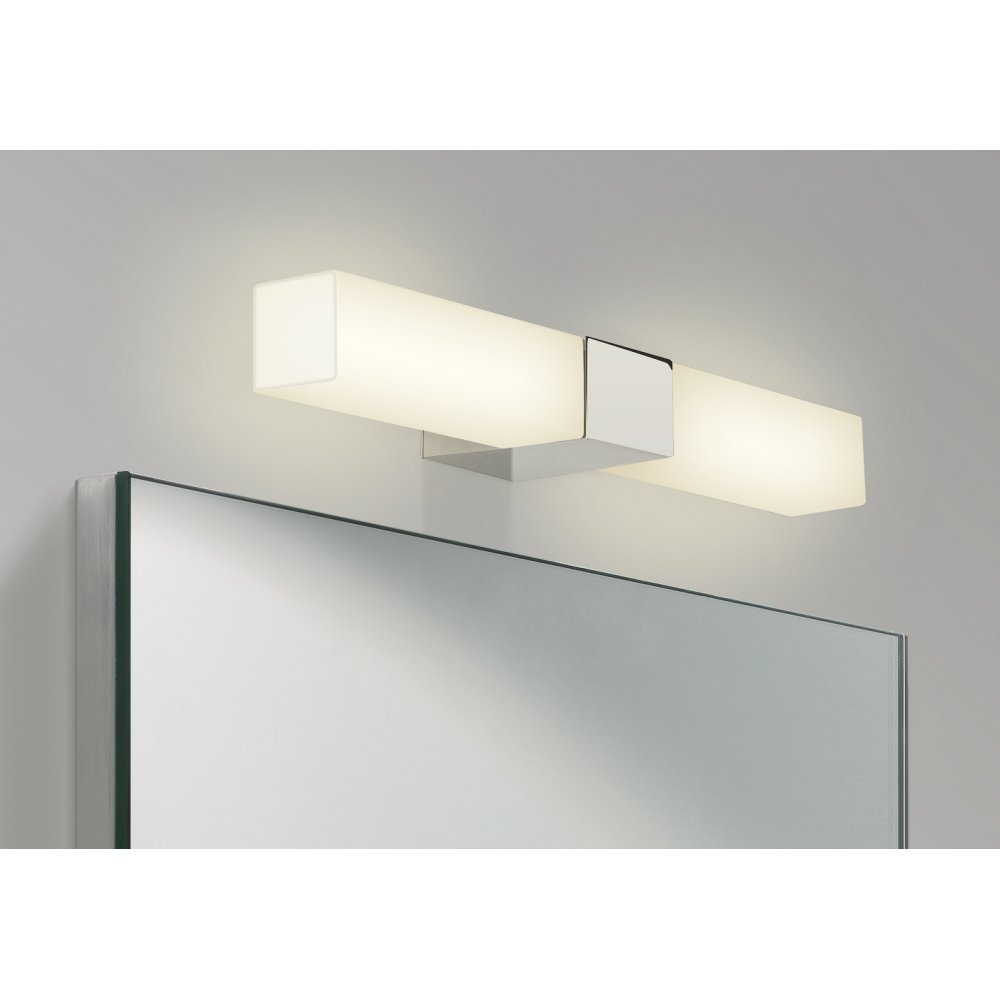 Square opal glass over bathroom mirror light ip44 and for Over mirror bathroom lights