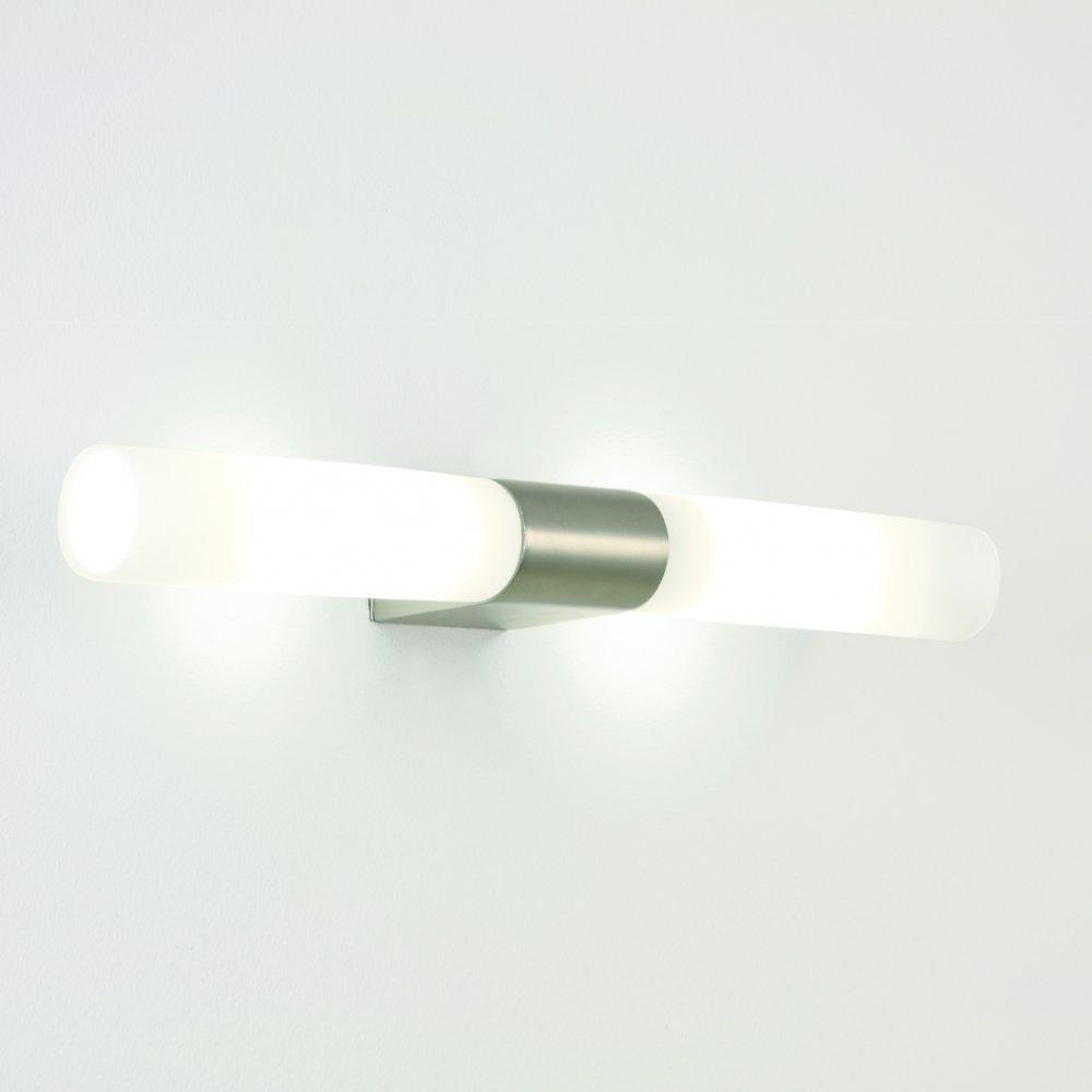 IP44 Over Bathroom Mirror Light, Chrome Detail, Opal Glass Tube Shades