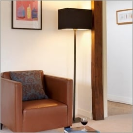 PARK LANE bronze floor lamp with black shade