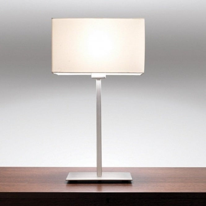 Contemporary Design Chrome Table Lamp With White