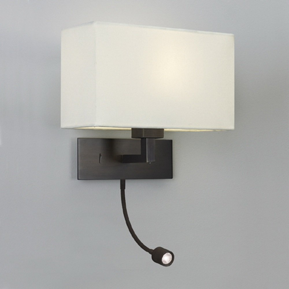 bronze wall light with white fabric shade and led reading book light. Black Bedroom Furniture Sets. Home Design Ideas