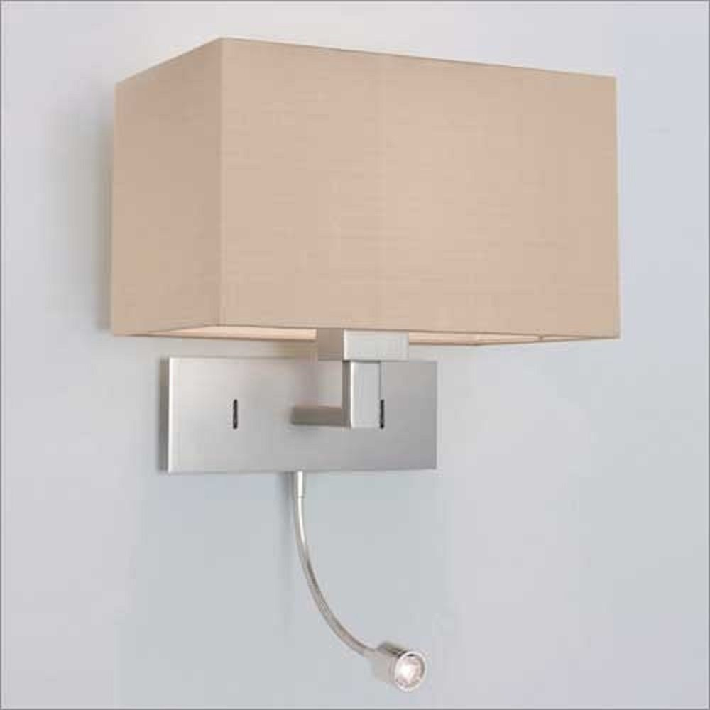 Over bed wall light with integral led book light hotel for Wall light with reading light