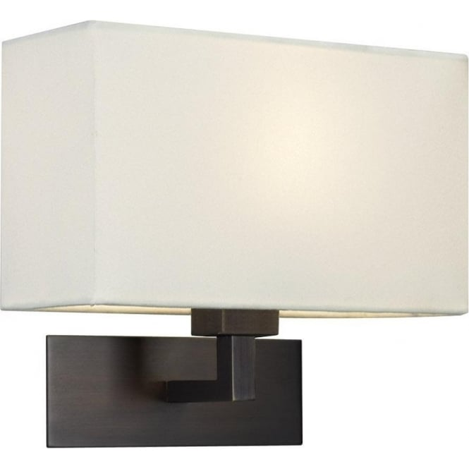 Imperial Hotel Lighting PARK LANE GRANDE modern bronze hotel style wall light with white fabric shade