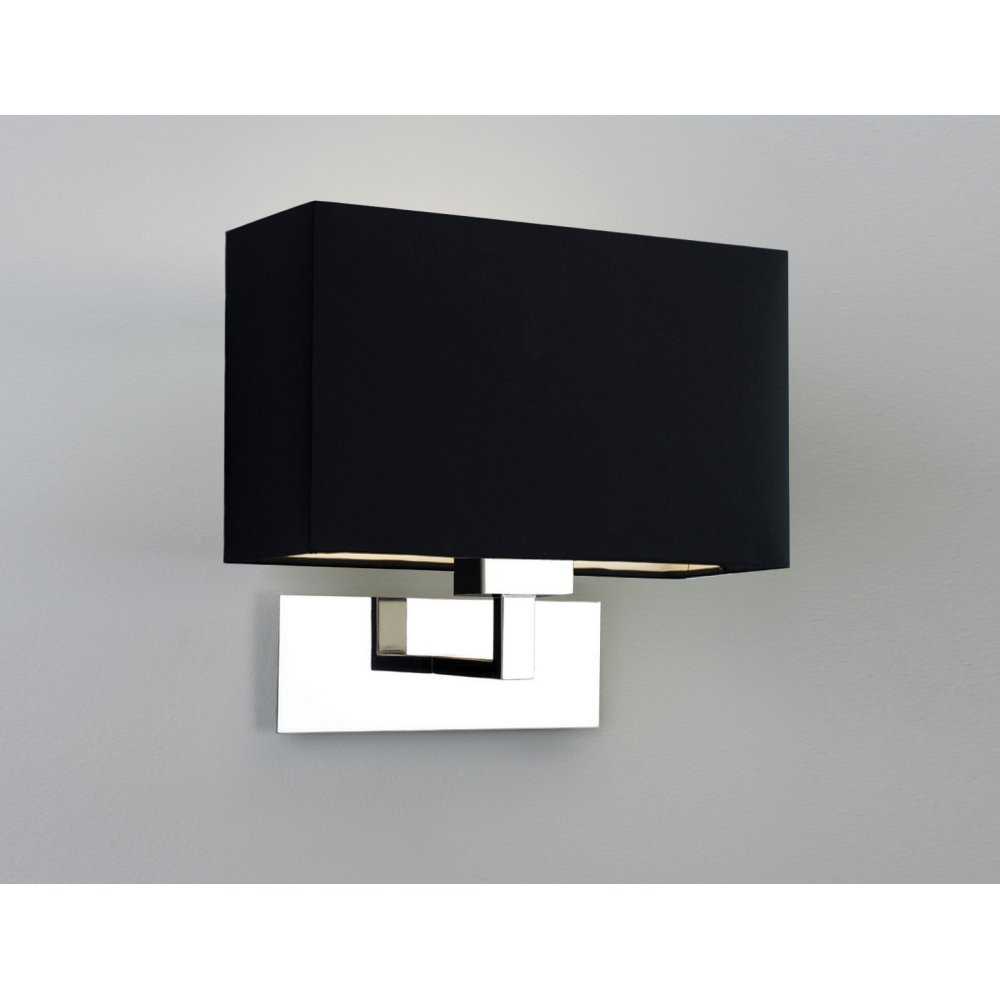 modern polished chrome wall light with black rectangular shade. Black Bedroom Furniture Sets. Home Design Ideas