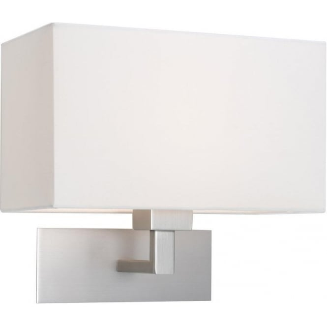 Imperial Hotel Lighting PARK LANE GRANDE modern matt nickel hotel style wall light with white fabric shade