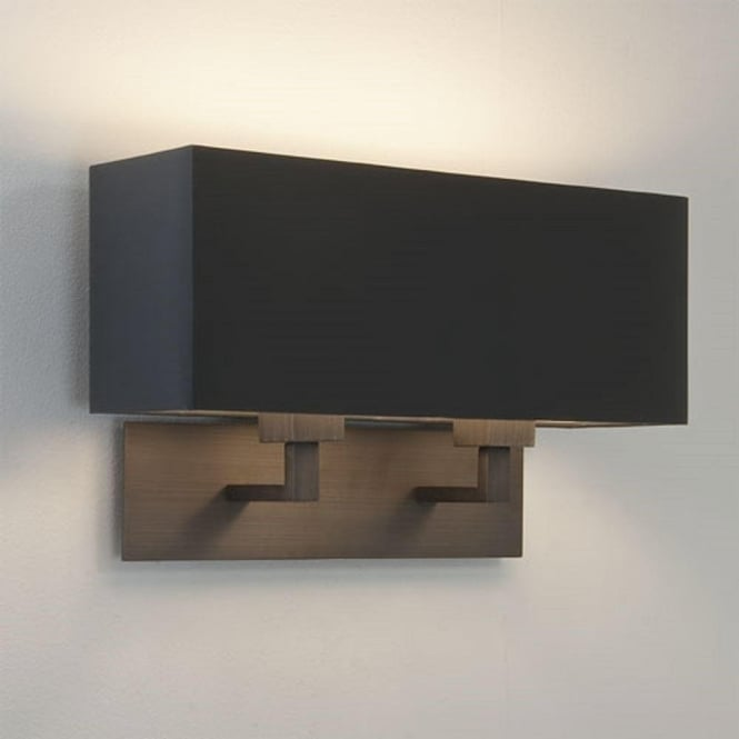 Imperial Hotel Lighting PARK LANE GRANDE TWIN modern bronze wall light with black shade