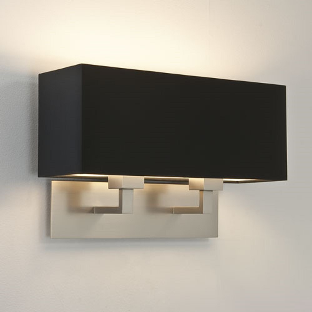 Black Light Hotel: Large Double Matt Nickel Wall Light With Rectangular Black