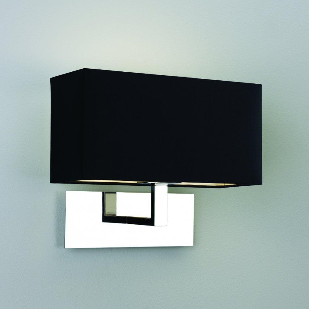 Black Light Hotel: Modern Chrome Wall Light With Black Rectangular Shade From