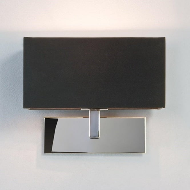 Modern chrome wall light with black rectangular shade from hotel range park lane modern chrome hotel style wall light with black fabric shade aloadofball Gallery