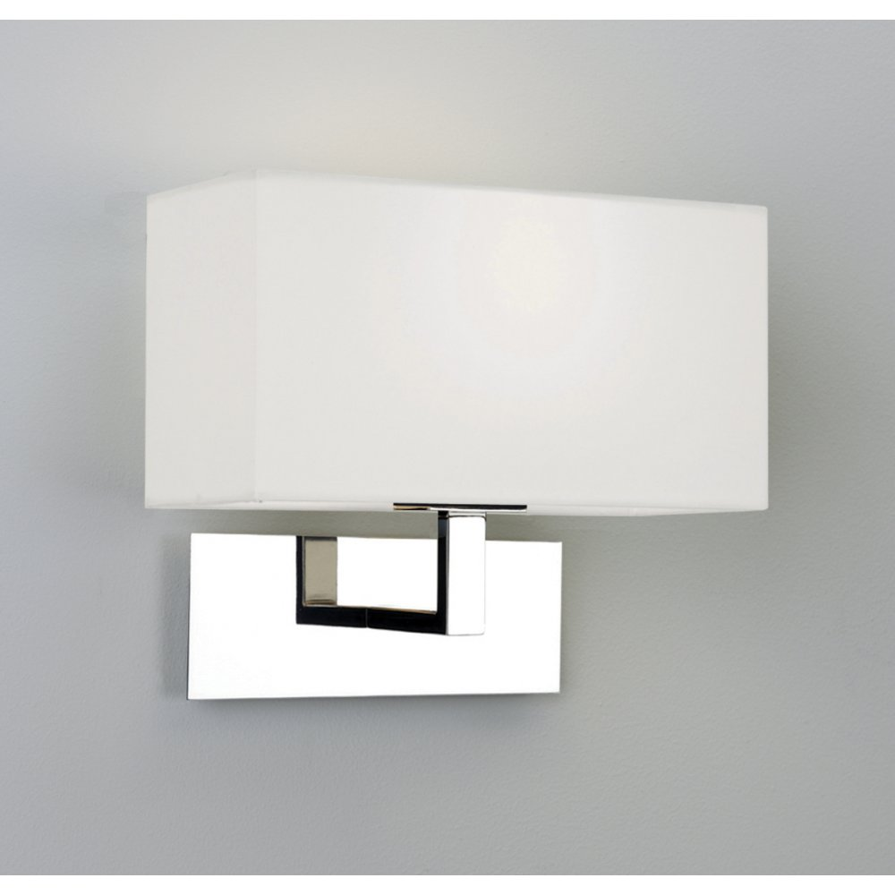 Park Lane Chrome Wall Light with Square White Fabric Shade