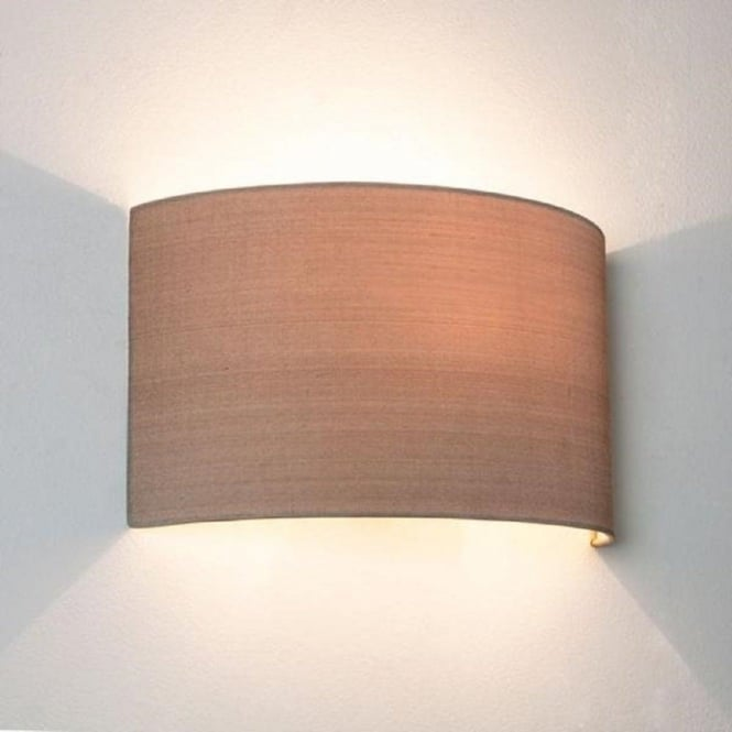 Fabric Wall Lamp Shades : Oyster Coloured Curved Fabric Wall Washer Style Wall Light