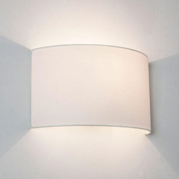 Wall Light Lamp Shades Fabric : Wall Washer Style Wall Light with White Curved Fabric Shade
