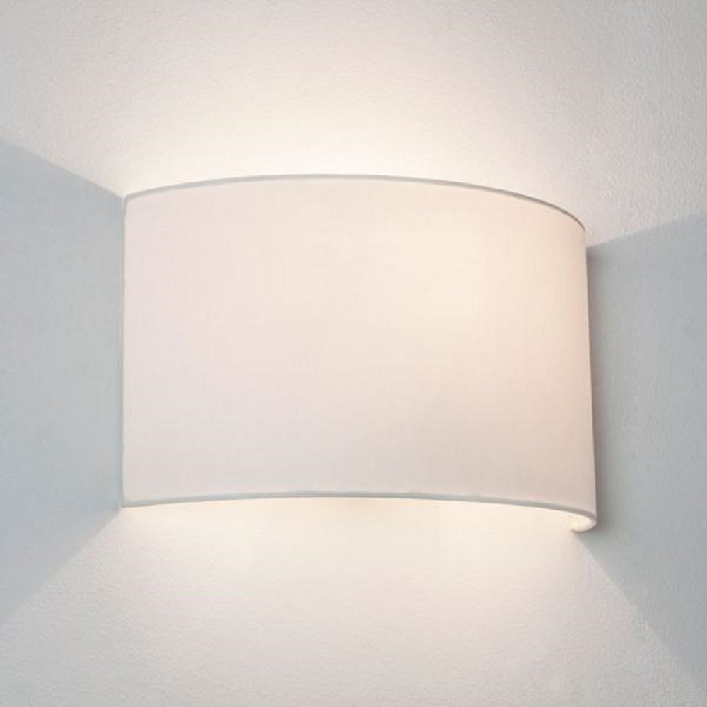 Fabric Wall Lamp Shades : Wall Washer Style Wall Light with White Curved Fabric Shade