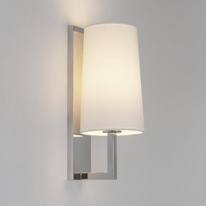 Boutique hotel style wall light fitting for bedrooms or bathrooms riva modern hotel style chrome wall light with white shade aloadofball Image collections