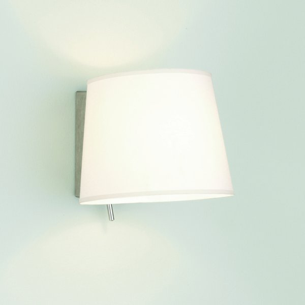 Switched Wall Light with White Fabric Shade , Over Bed Reading Light