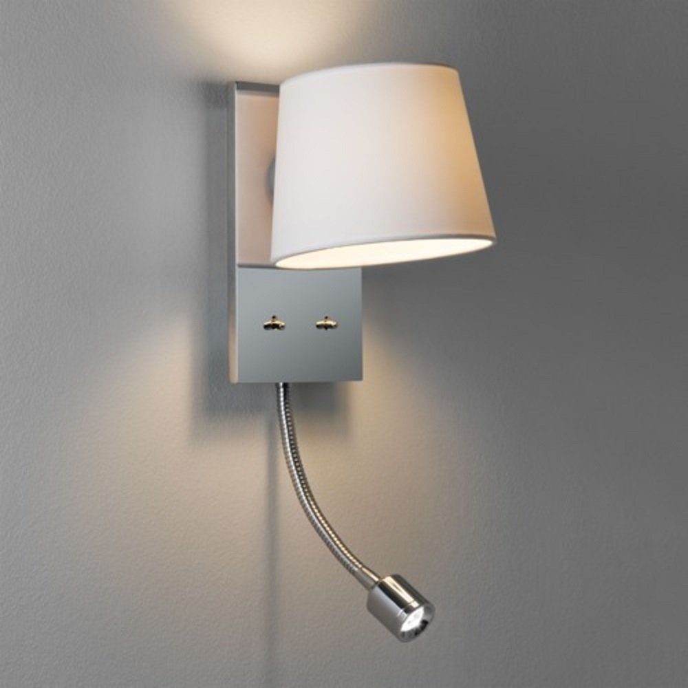 Twin Reading Wall Lights : Bedroom Wall Light Incorporating LED flexible Arm Book Reading Light
