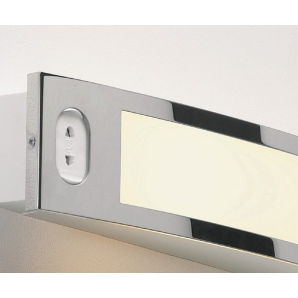 Illuminated Over Bathroom Mirror Light with Shaver Point and Pull Cord