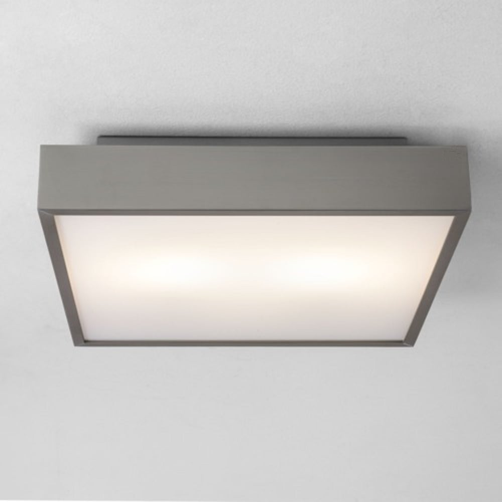 Flush fit square led bathroom ceiling light with chrome surround taketa led square ip44 bathroom ceiling or wall light matt nickel aloadofball Images