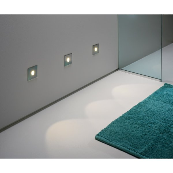 Led Bathroom Wall Lights Uk: Square Silver Recessed Wall Light, IP65 For Bathrooms, Low