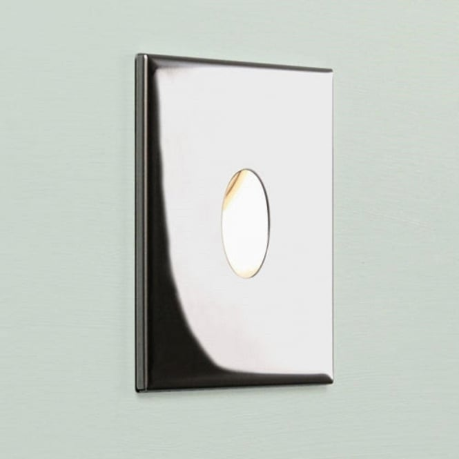 Square Chrome Recessed LED Wall Light for Indoors, IP65 Bathroom Safe
