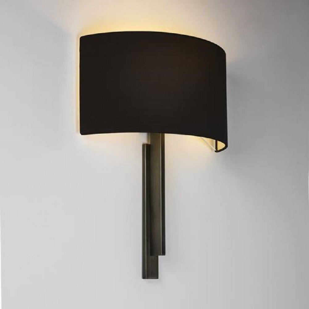 Black Lamp Wall Lights : Modern Hotel Style Wall Light in Bronze with Black Shade