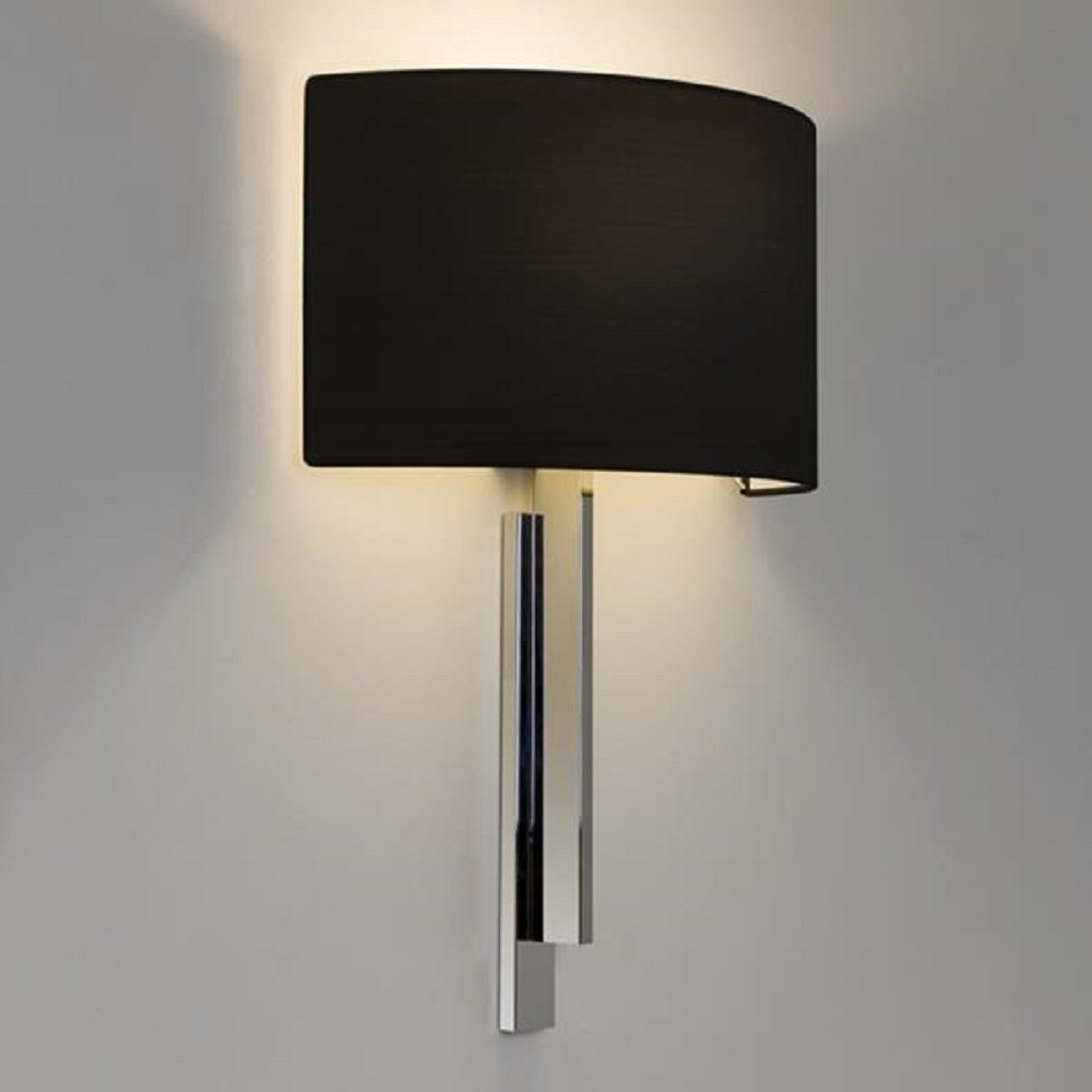 Hotel Style Wall Light in Chrome with Black Shade, Contemporary Design