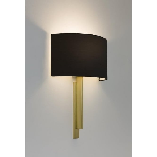 Matt brass contemporary wall light with dramatic black fabric shade tate modern hotel style wall light matt brass with black shade aloadofball