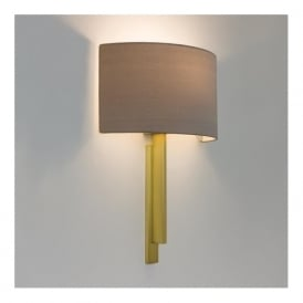 TATE modern hotel style wall light, matt brass with oyster shade