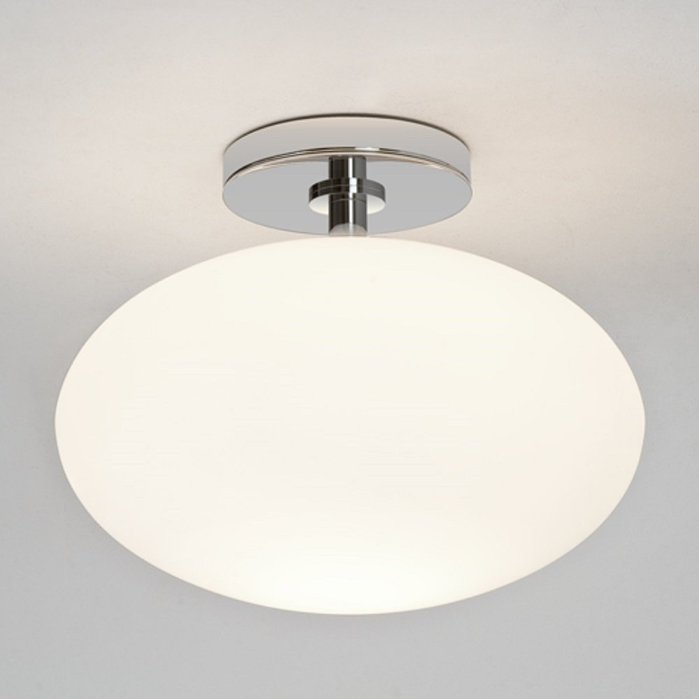 Contemporary IP44 Bathroom Ceiling Light, Opal Glass Shade ...