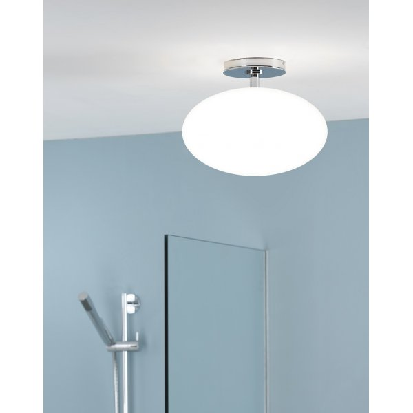 Contemporary IP44 Bathroom Ceiling Light, Opal Glass Shade With Chrome