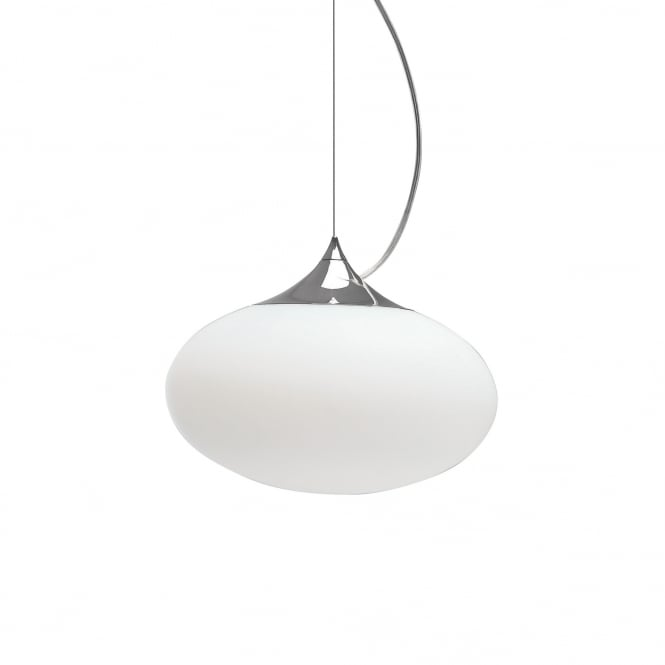 Imperial Hotel Lighting ZEPPO modern opal glass ceiling pendant with chrome detailing