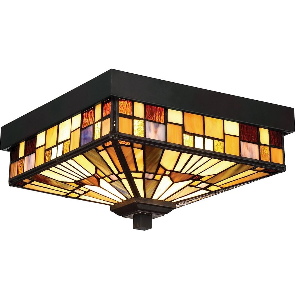 Colourful Flush Fit Tiffany Ceiling Light For Indoor Or Outdoor Use