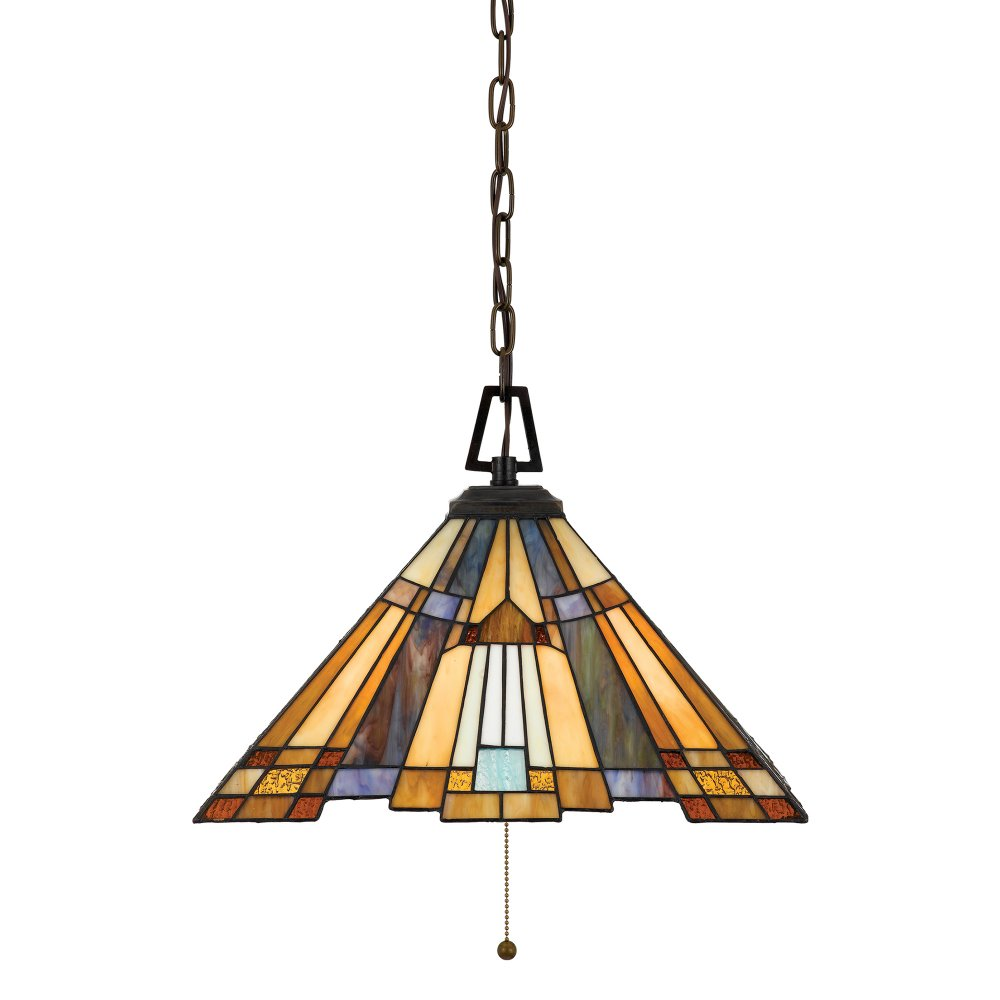 Multi Coloured Tiffany Glass Ceiling Pendant Light On Bronze Chain