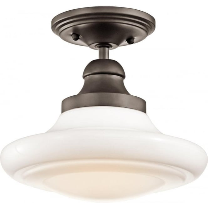 Schoolhouse Ceiling Light Bronze Fitting With Opal Glass Shade