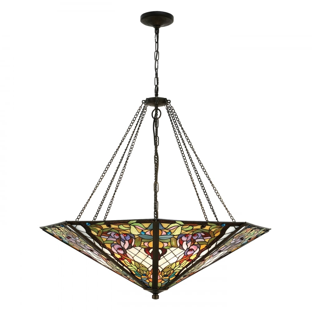 Anderson mega tiffany stained glass uplighter ceiling pendant